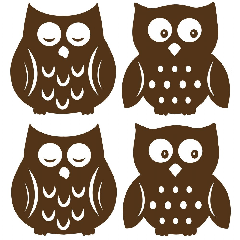 Owl Espresso Silhouettes Wall Sticker Set